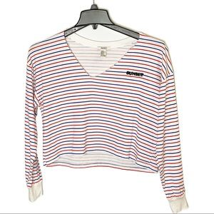 Forever 21 striped long sleeve crop top cotton M